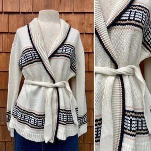 Vintage 1970's Boho Cottage Farm Belted Cardigan